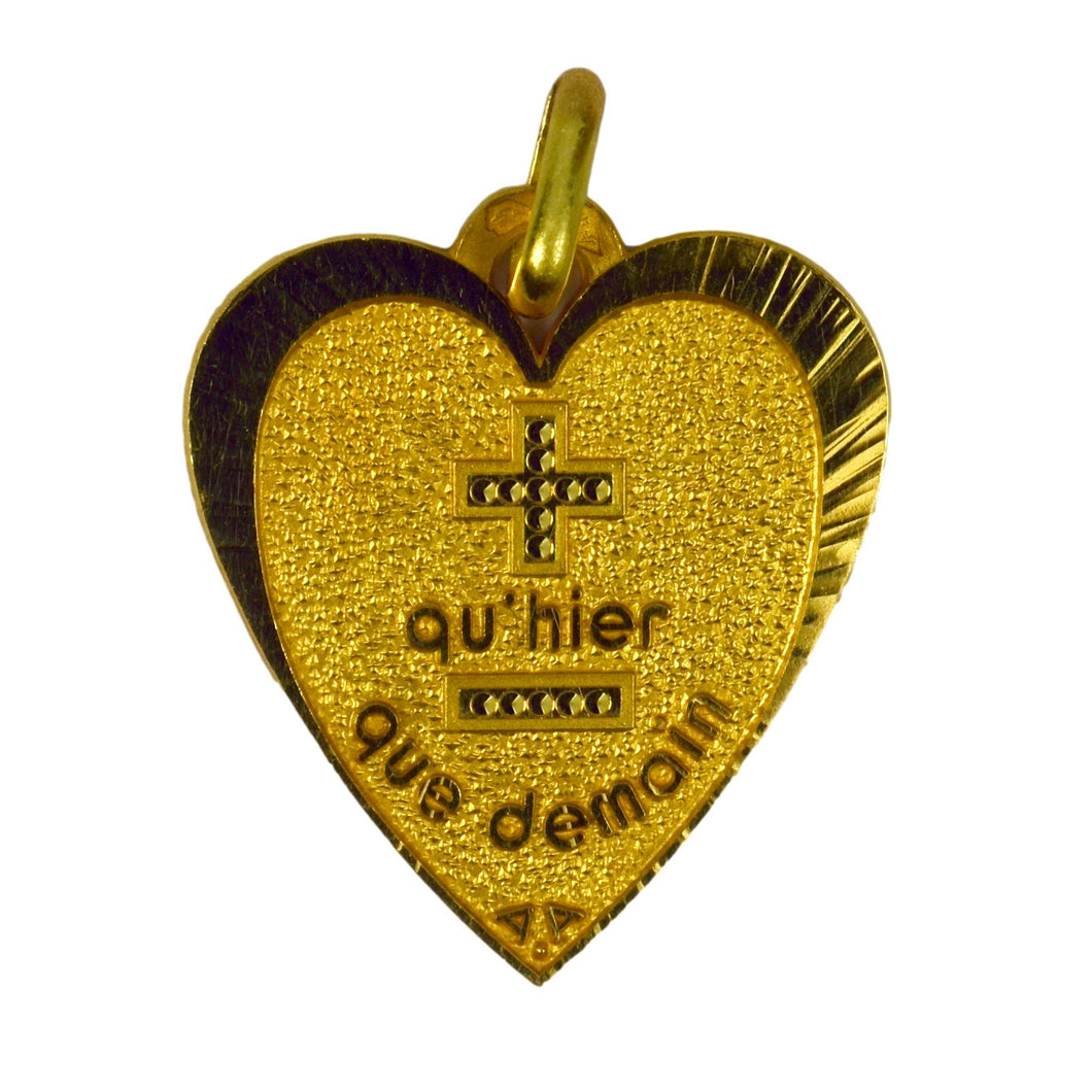 Augis French More Than Yesterday 18K Yellow Gold Love Heart Charm Pendant