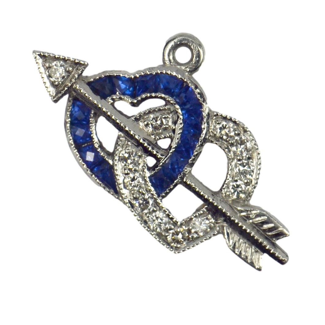 Interlocking Hearts and Cupid's Arrow Sapphire Diamond Platinum Charm Pendant