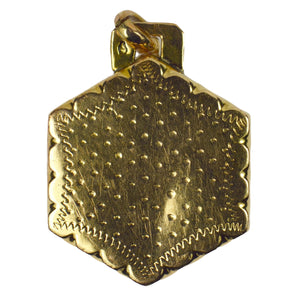 French Yellow Gold Hexagonal Grapes and Vine Charm Pendant