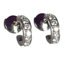 Load image into Gallery viewer, French Diamond White Gold Huggie Hoop Earrings
