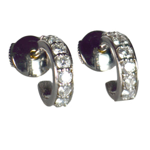 French Diamond White Gold Huggie Hoop Earrings
