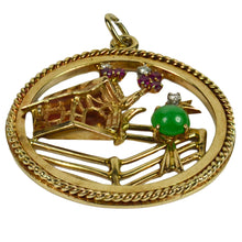 Load image into Gallery viewer, Large Yellow Gold Diamond Red Ruby Green Jade Bird Home Sweet Home Charm Pendant