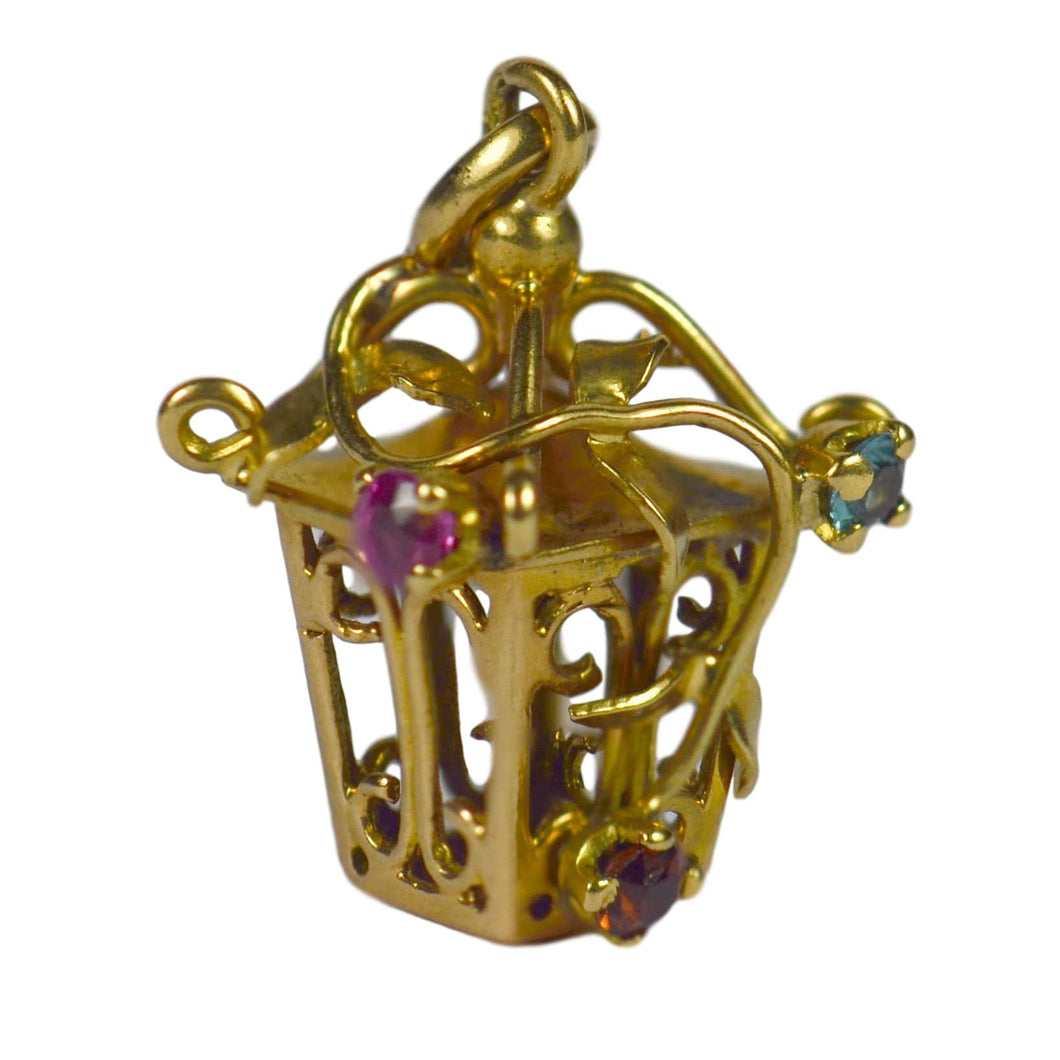 French Yellow Gold Gem Set Lantern Charm Pendant