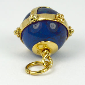 18K Yellow Gold Swiss Lapis Sphere Charm Pendant