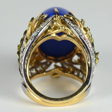 Load image into Gallery viewer, Blue Lapis Lazuli Diamond Platinum Gold Cabochon Cocktail Ring