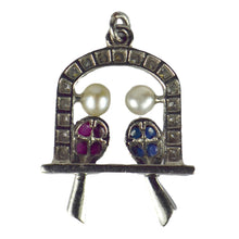 Load image into Gallery viewer, Art Deco Platinum Ruby Sapphire Pearl Diamond Love Birds Charm Pendant