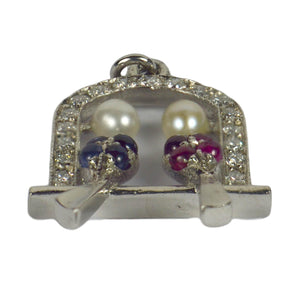 Art Deco Platinum Ruby Sapphire Pearl Diamond Love Birds Charm Pendant