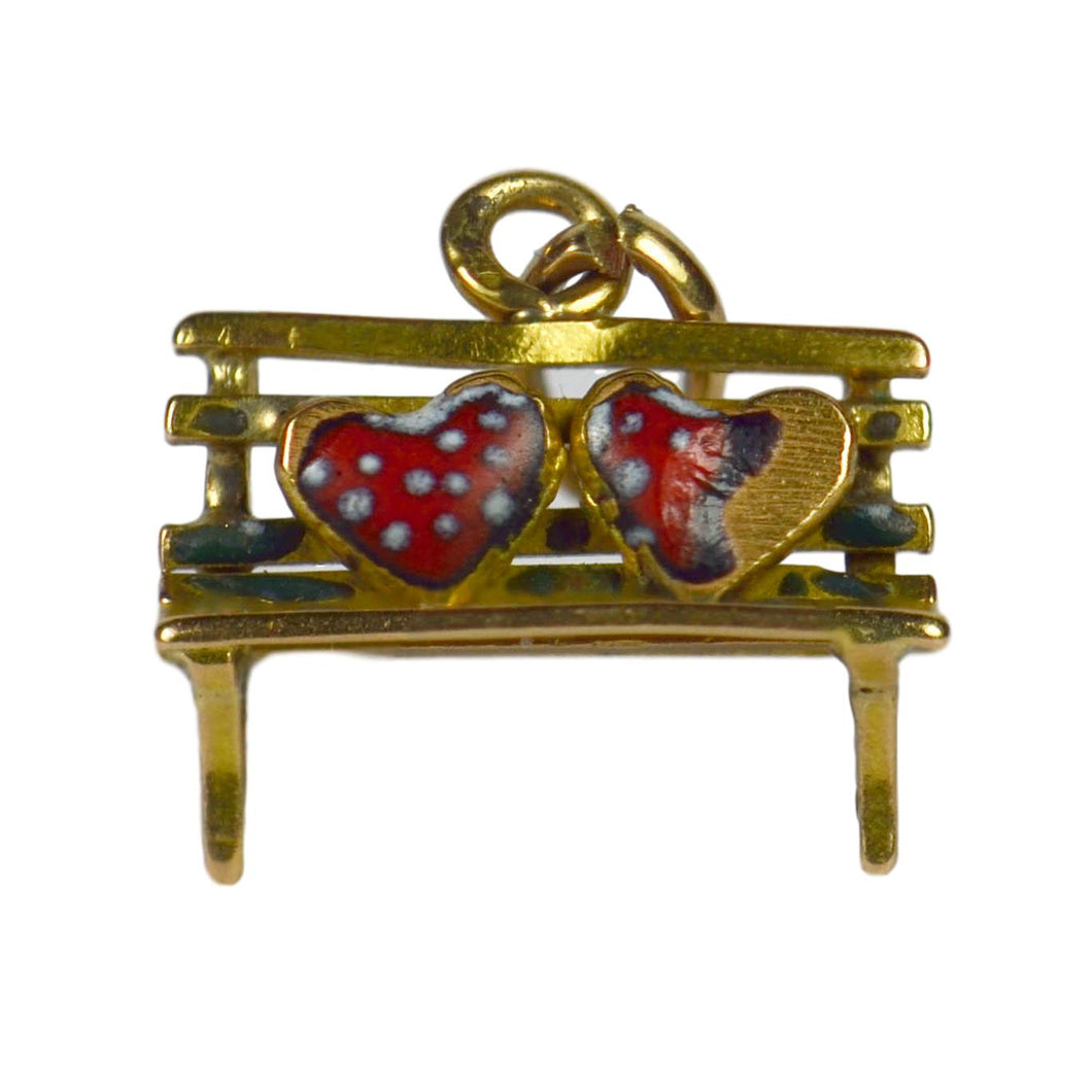 Yellow Gold Red Enamel Lovers Heart Bench Charm Pendant