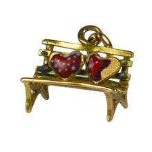 Load image into Gallery viewer, Yellow Gold Red Enamel Lovers Heart Bench Charm Pendant