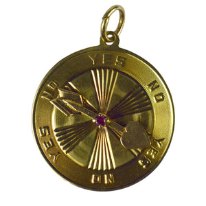 Yellow Gold Red Ruby Love Heart Spinning Arrow Yes No Decision Charm Pendant