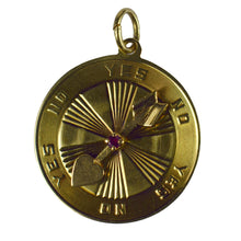 Load image into Gallery viewer, Yellow Gold Red Ruby Love Heart Spinning Arrow Yes No Decision Charm Pendant