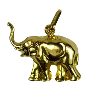 French 18K Yellow Gold Happy Elephant Lucky Charm Pendant