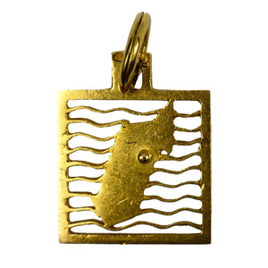 Island Map 18K Yellow Gold Square Charm Pendant