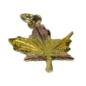 Yellow Rose Gold Canada Maple Leaf Charm Pendant