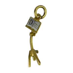 18kt Yellow Gold Enamel Music Stand Charm Pendant