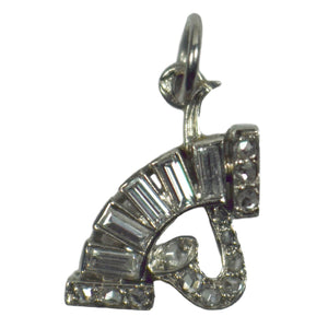 Art Deco Platinum and Diamond Music Charm