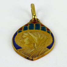 Load image into Gallery viewer, French 18K Yellow Gold Enamel Virgin Mary Navette Charm Pendant