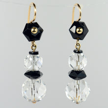 Load image into Gallery viewer, Art Deco Onyx Rock Crystal Gold Drop Earrings, circa 1920