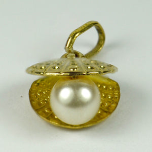9K Yellow Gold Cultured Pearl Oyster Charm Pendant