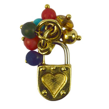 Load image into Gallery viewer, 18K Yellow White Gold Gem Set Love Heart Padlock Tassel Charm Pendant