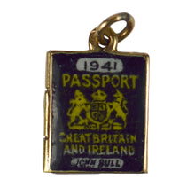 Load image into Gallery viewer, Yellow Gold Enamel British Passport of Love Charm Pendant