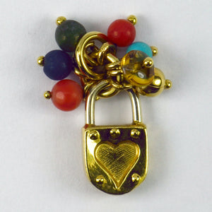 18K Yellow White Gold Gem Set Love Heart Padlock Tassel Charm Pendant