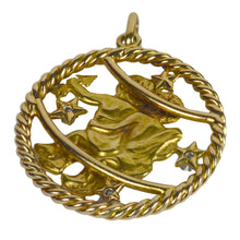 Load image into Gallery viewer, French Gemini Zodiac Gold Diamond Pendant Charm