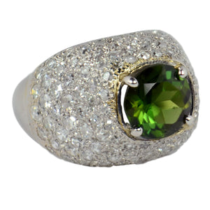 Peridot Diamond Bombe Dome Platinum Ring