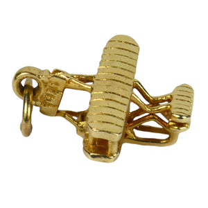 Yellow Gold Wright Brothers Model A Flyer First Military Airplane Charm Pendant