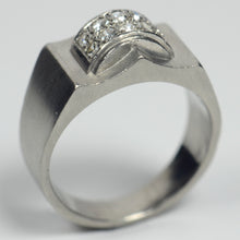 Load image into Gallery viewer, French 1935 Modernist White Diamond Platinum Ring