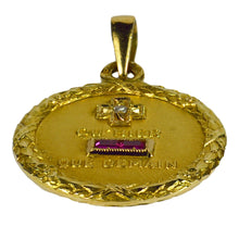 Load image into Gallery viewer, Augis French More Than Yesterday Ruby Diamond Yellow Gold Love Charm Pendant