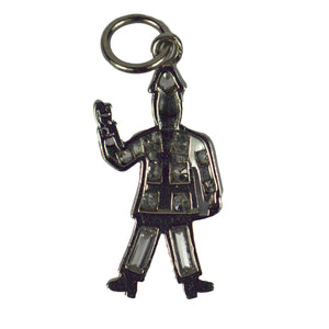 Art Deco Platinum White Diamond Black Enamel Policeman Charm Pendant