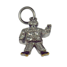 Load image into Gallery viewer, Art Deco Platinum White Diamond Black Enamel Policeman Charm Pendant