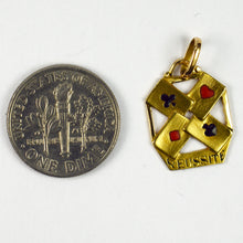 Load image into Gallery viewer, French 18K Yellow Gold Enamel 'Reussite' Aces Gambling Cards Charm Pendant