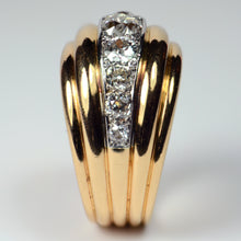 Load image into Gallery viewer, French 1940s Diamond Gold Platinum Ridged Dome Ring