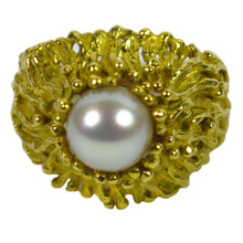 Load image into Gallery viewer, Modernist Yellow Gold White Pearl Ring