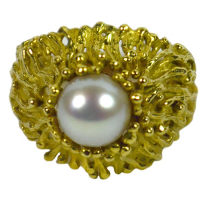 Modernist Yellow Gold White Pearl Ring
