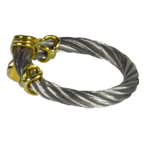 Steel Cable Yellow Gold Ring