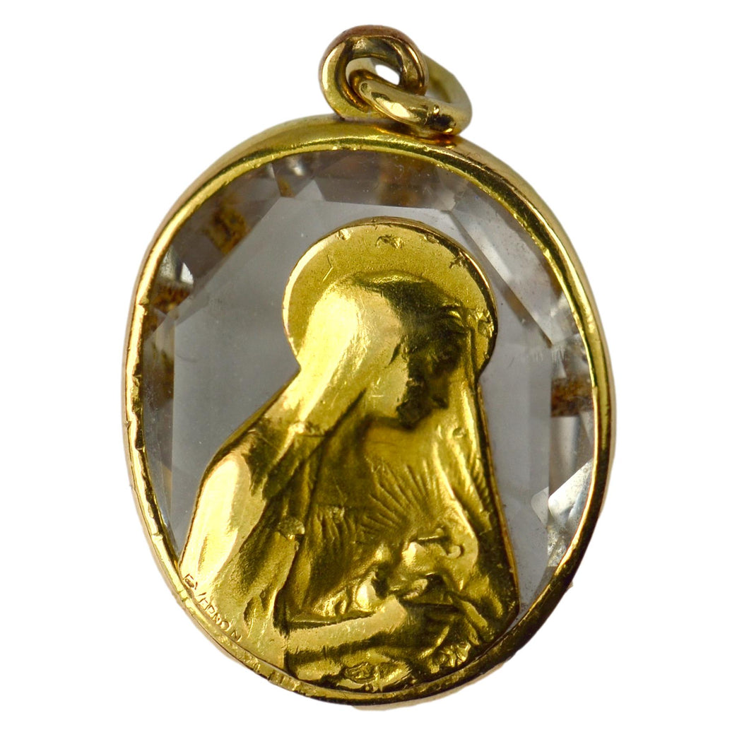 French Madonna and Child 18K Yellow Gold Rock Crystal Charm Pendant