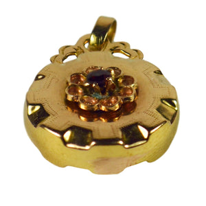 French 18K Yellow Gold Red Paste Medal Charm Pendant