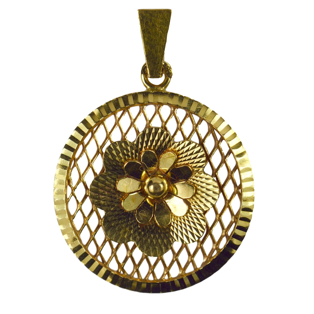 Vintage French 18K Yellow Gold Filigree Flower Rosette Charm Pendant
