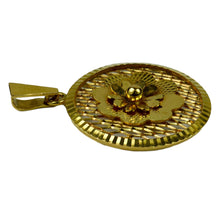 Load image into Gallery viewer, Vintage French 18K Yellow Gold Filigree Flower Rosette Charm Pendant