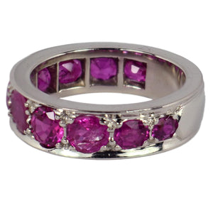 Natural Ruby White Gold Eternity Band Ring