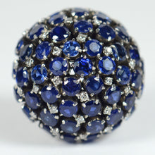Load image into Gallery viewer, Sapphire diamond bombe ring