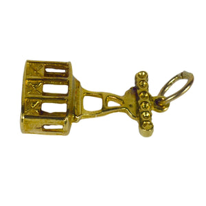 18K Yellow Gold Ski Lift Charm Pendant