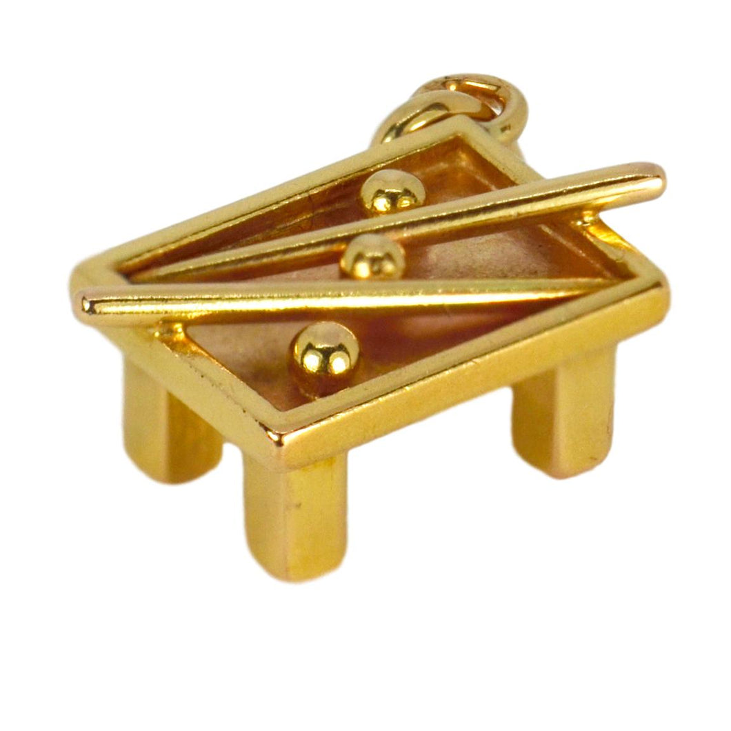 18K Yellow Gold Snooker Table Charm Pendant