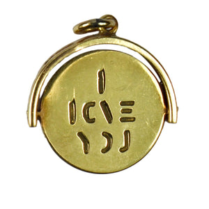 9K Yellow Gold Spinning I Love You Charm Pendant