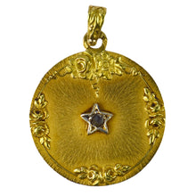 Load image into Gallery viewer, French 18K Yellow Gold Rose Cut Diamond Lucky Star Charm Pendant