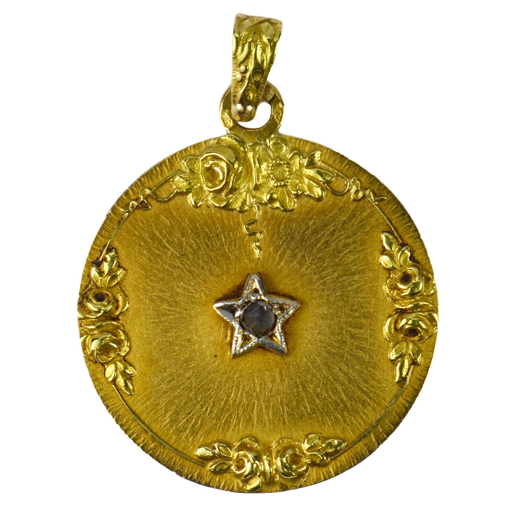 French 18K Yellow Gold Rose Cut Diamond Lucky Star Charm Pendant