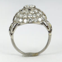 Load image into Gallery viewer, French Art Deco White Diamond Platinum Target Dome Ring